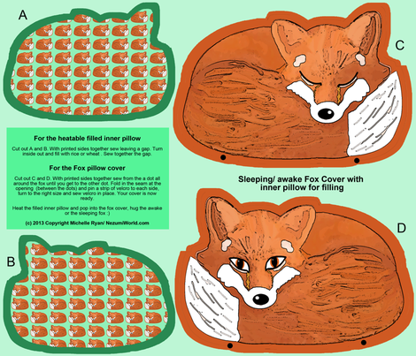 Mr Fox Awake/ Asleep Cover fabric by nezumiworld on Spoonflower - custom fabric