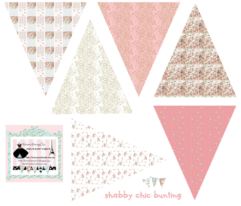 Shabby Chic small Bunting fabric fabric by karenharveycox on Spoonflower - custom fabric