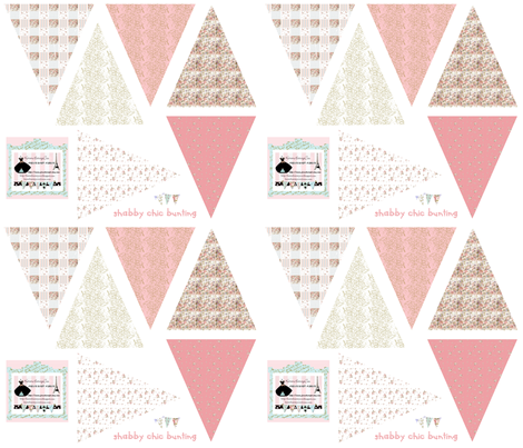 Bunting in Shabby Chic fabric by karenharveycox on Spoonflower - custom fabric