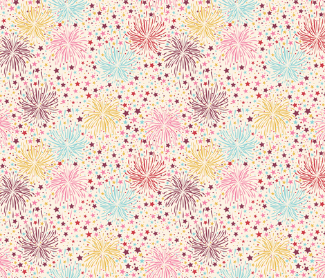 FIREWORKS & CONFETTI_IVORY fabric by natasha_k_ on Spoonflower - custom fabric