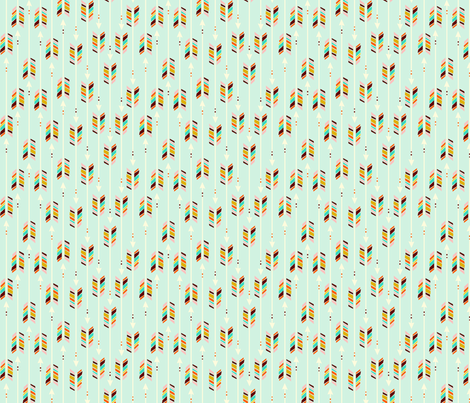 A Rain(bow) of Arrows: Mint fabric by nadiahassan on Spoonflower - custom fabric