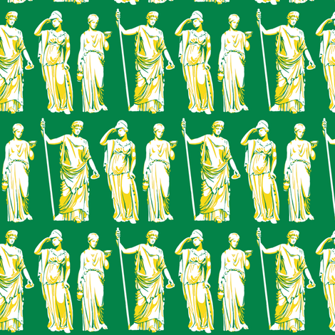Kolonaki Goddess - Green fabric by siya on Spoonflower - custom fabric