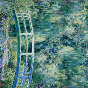 Claude Monet - Water Lilies and Japanese Bridge - 1 Yard border print