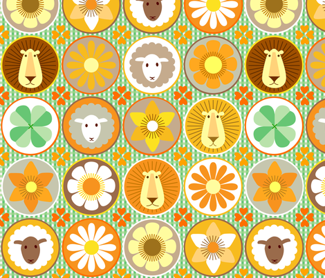 lion+lamb+flower fabric by heleenvanbuul on Spoonflower - custom fabric