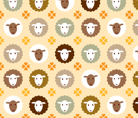 lamb+heart fabric by heleenvanbuul on Spoonflower - custom fabric
