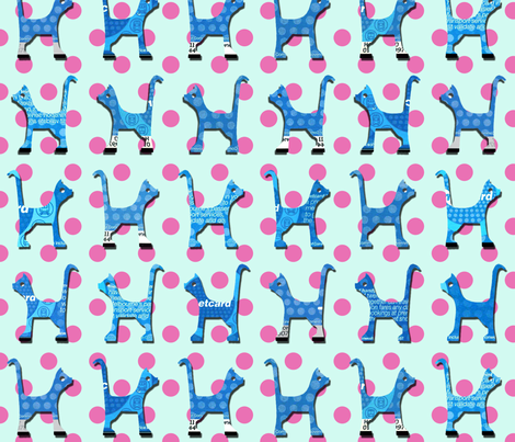 itty_bitty_kitty_blue_large fabric by kirstylovescardboard on Spoonflower - custom fabric