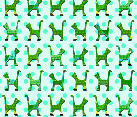 itty_bitty_kitty_green_large fabric by kirstylovescardboard on Spoonflower - custom fabric