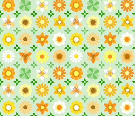 flowers+leaves fabric by heleenvanbuul on Spoonflower - custom fabric