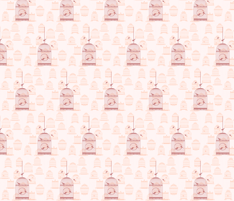 bird cages - pink fabric by krs_expressions on Spoonflower - custom fabric