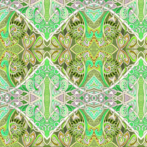 Old Fashioned Twisted Paisley Victorian (in green)  fabric by edsel2084 on Spoonflower - custom fabric