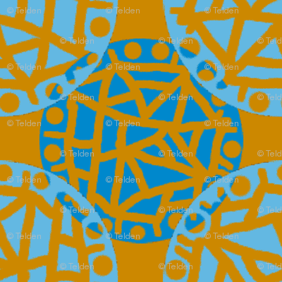 Retro Circle Stamp - Rust and Blue