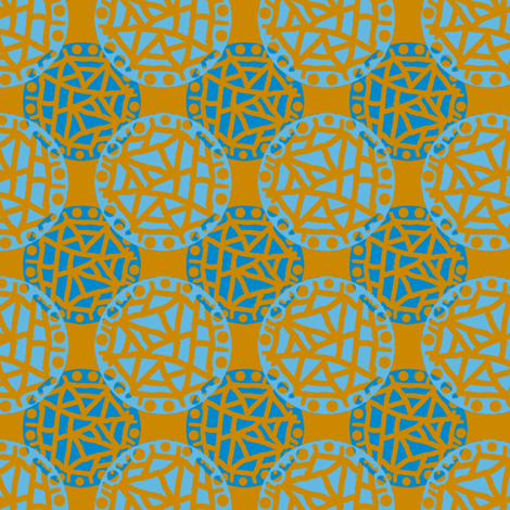 Retro Circle Stamp - Rust and Blue fabric by telden on Spoonflower - custom fabric