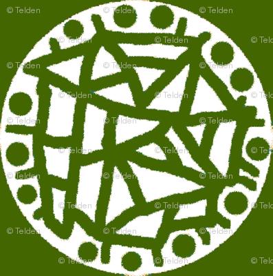 Retro Circle Stamp - Olive