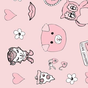 Pygmy Hippo Scarf - 18x27 - pink