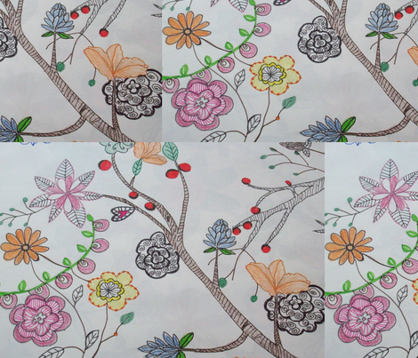 stylised floral arrangement fabric by rachana on Spoonflower - custom fabric