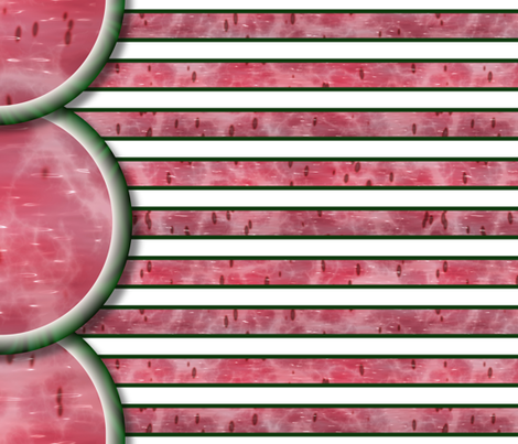 Watermelon Mania - Single Melon - Bordered Stripe fabric by bonnie_phantasm on Spoonflower - custom fabric