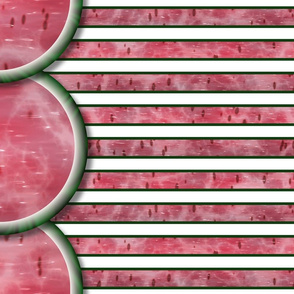 Watermelon Mania - Single Melon - Bordered Stripe