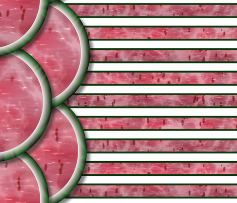 Watermelon Mania - Double Melon - Bordered Stripe fabric by bonnie_phantasm on Spoonflower - custom fabric