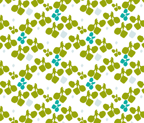 Green leaves fabric by pocu on Spoonflower - custom fabric