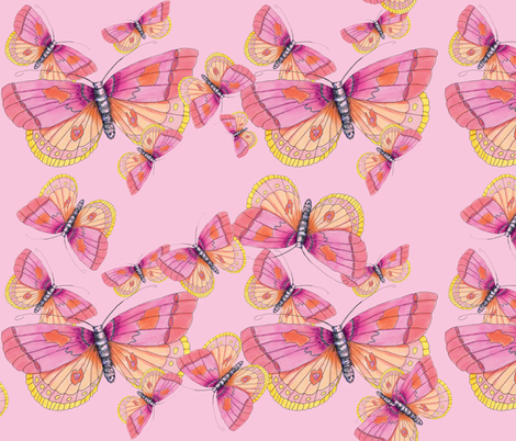 Bubblegum Butterflies fabric by aftermyart on Spoonflower - custom fabric