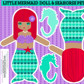 mermaids red with sea horse, softie dolls
