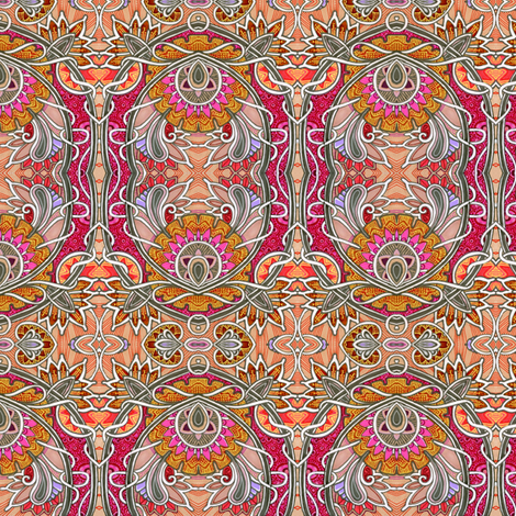 Autumn Sunset Victorian Style (with hearts, vines, and paisley) fabric by edsel2084 on Spoonflower - custom fabric