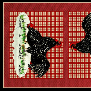 Rooster and Hen tea towel