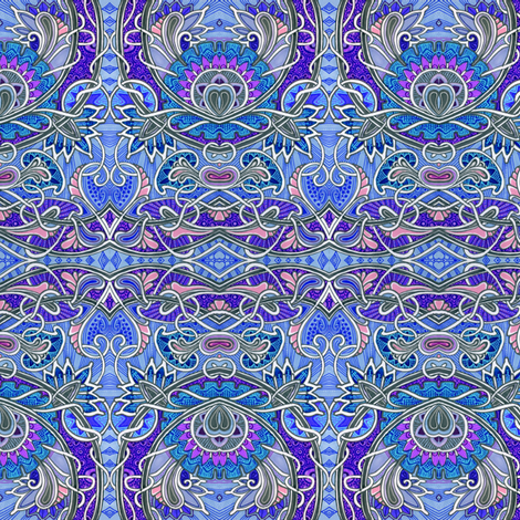 Blue Strawberry Scallop Paisley Vine A Go Go fabric by edsel2084 on Spoonflower - custom fabric