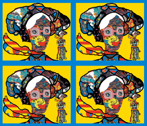 The Lady of Colors on the Isle of Design bordered in blue fabric by anniedeb on Spoonflower - custom fabric
