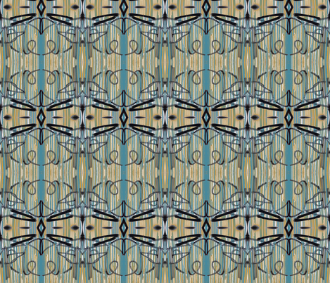Symphony of Tagging in Teal, Ochre, Black and White fabric by susaninparis on Spoonflower - custom fabric