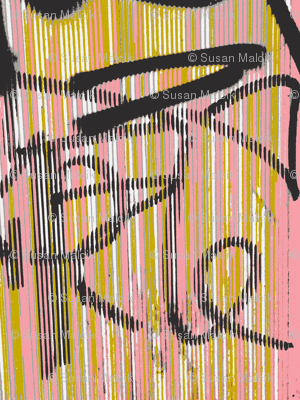 Symphony of Tagging in Pinks, Ochre, Black and White