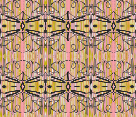 Symphony of Tagging in Pinks, Ochre, Black and White fabric by susaninparis on Spoonflower - custom fabric