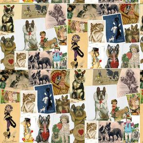 Vintage French Bulldog card collage
