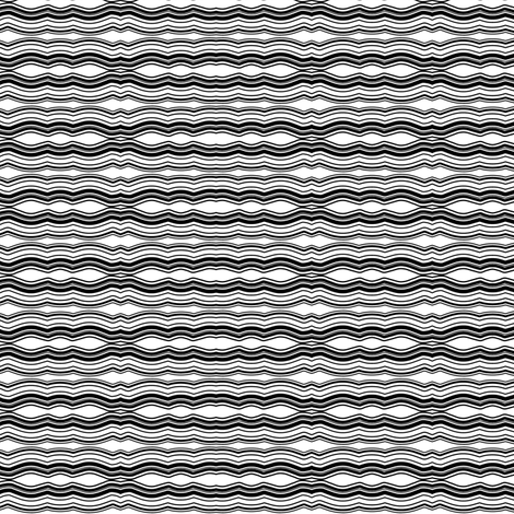 Zoom Wavy Stripes Horizontal - Black and White - Small fabric by telden on Spoonflower - custom fabric