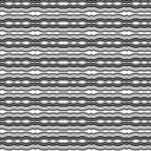 Zoom Wavy Stripes Horizontal - Black and White - Small