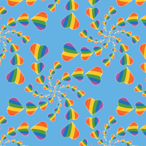 Rainbow Heart Swirl fabric by jjtrends on Spoonflower - custom fabric
