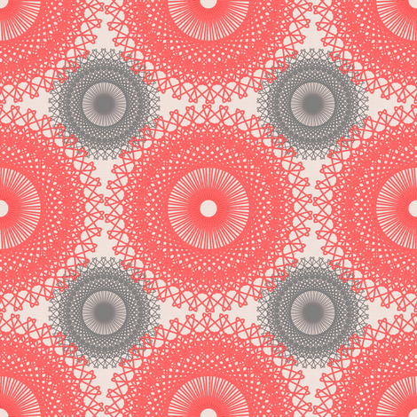 Shabby Chic Doilies - Salmon Pink and Gray fabric by telden on Spoonflower - custom fabric