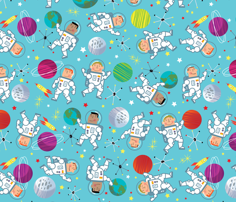 Space Buddies fabric by edmillerdesign on Spoonflower - custom fabric