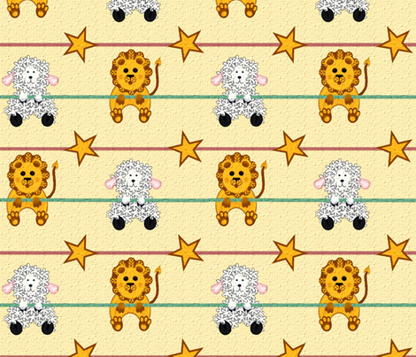 Lions and Lambs fabric by jabiroo on Spoonflower - custom fabric
