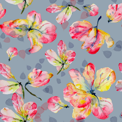Pink Shower Blossoms fabric by susan_magdangal on Spoonflower - custom fabric