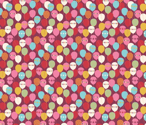 BALLOONS_BURGUNDY fabric by natasha_k_ on Spoonflower - custom fabric