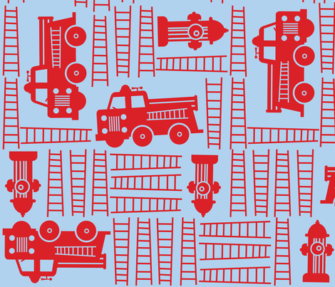 Fire Trucks fabric by edward_elementary on Spoonflower - custom fabric