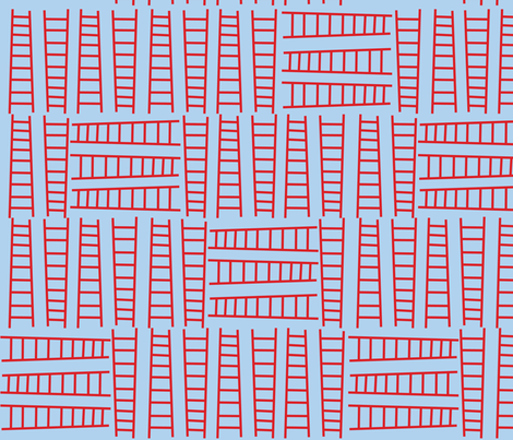 Fire Ladders Blue fabric by edmillerdesign on Spoonflower - custom fabric