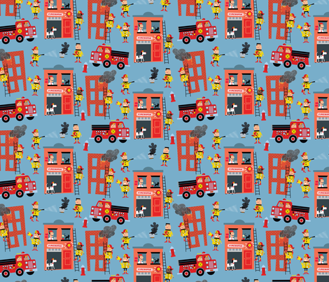 FIre House fabric by edmillerdesign on Spoonflower - custom fabric