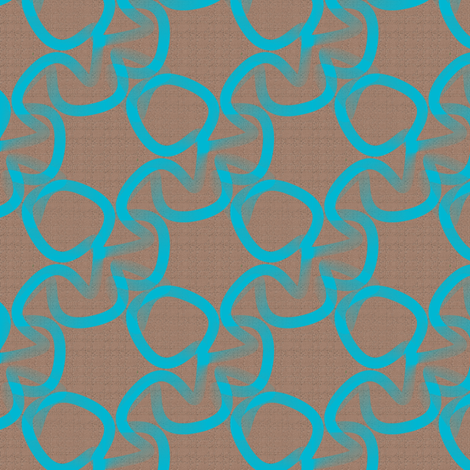 Turquoise and Brown Scribble Chain fabric by telden on Spoonflower - custom fabric