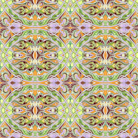 Garden at the Rococo Gates of Fairyland fabric by edsel2084 on Spoonflower - custom fabric