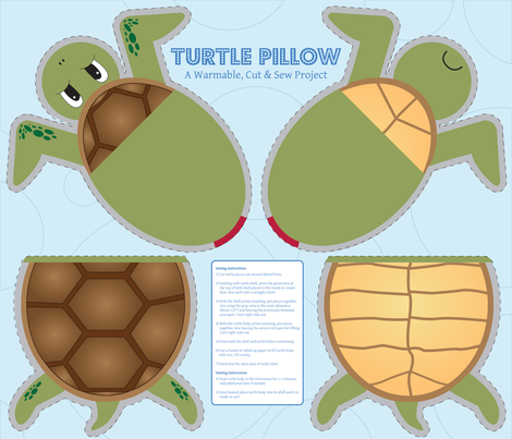Turtle Pillow - Cut & Sew fabric by illustrative_images on Spoonflower - custom fabric