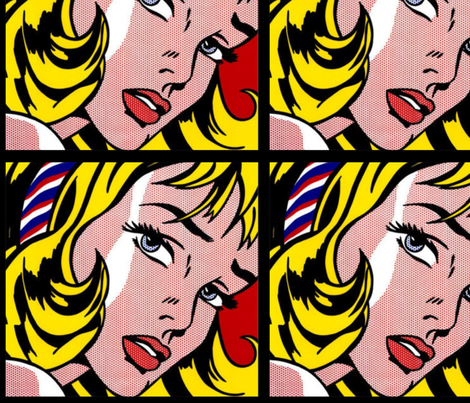 pop art comic girl vintage retro fabric by raveneve on Spoonflower - custom fabric