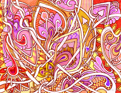 Hearts and Twists in Pink and Peach (a feminine abstract)