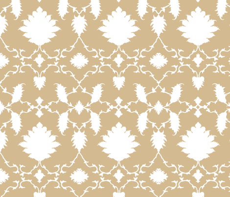 Paradise Chinoiserie Damask in Soft Khaki fabric by sparrowsong on Spoonflower - custom fabric
